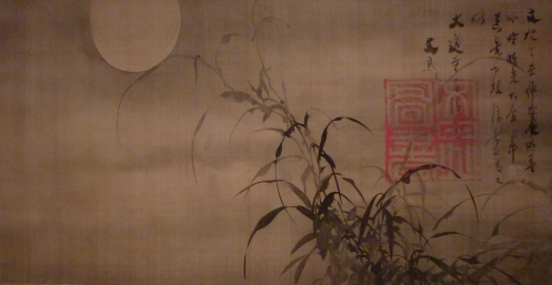 Grasses and Moon-1870 by Tani Buncho